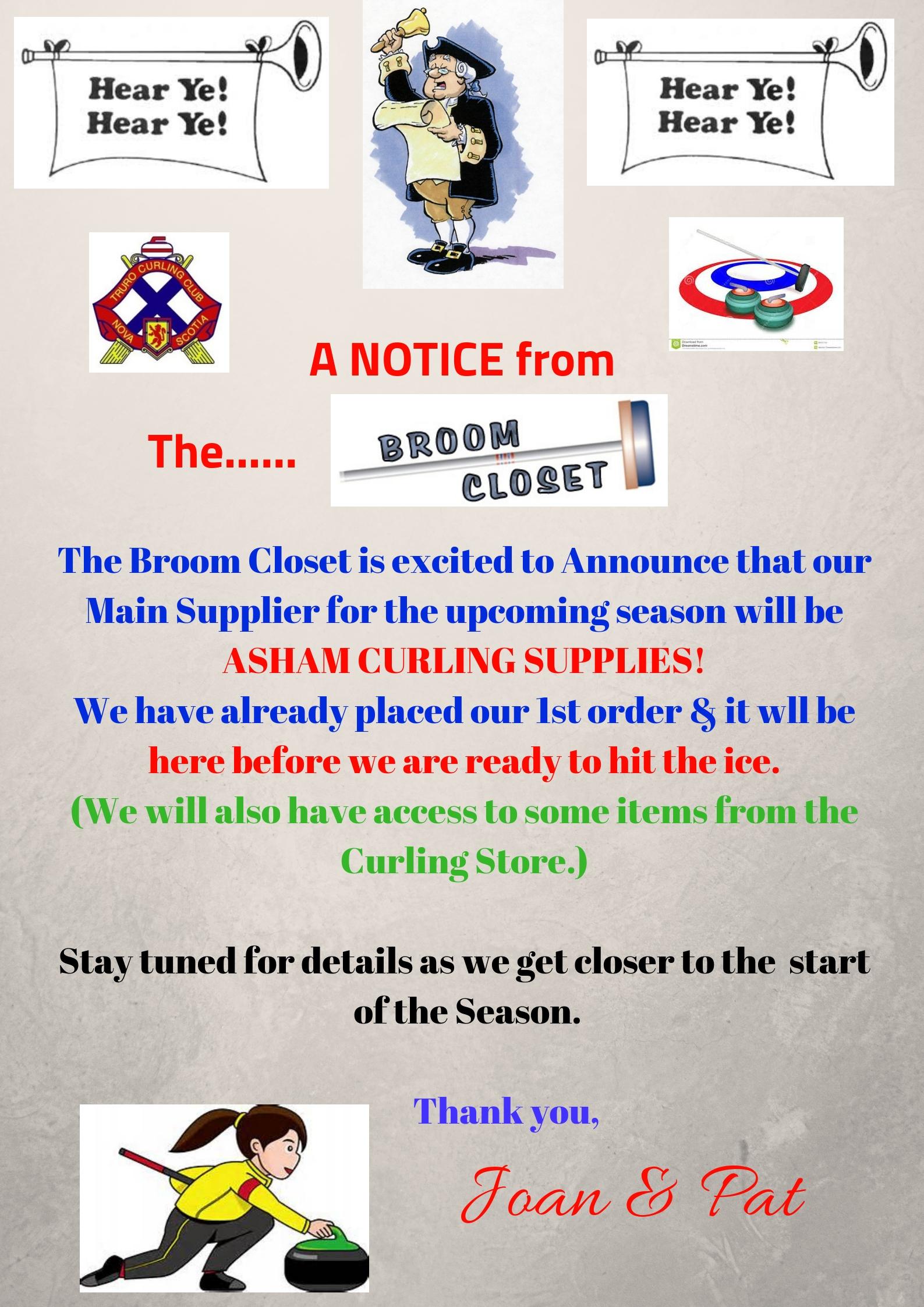 Truro Curling Club - Broom Closet Notice